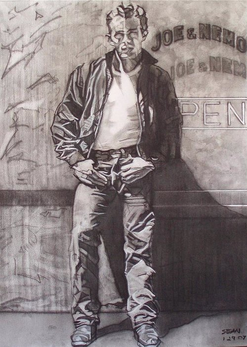 Charcoal; Icon;americana;cool;window;sidewalk;street;rock And Roll;jeans;t-shirt;diner;movie Star Greeting Card featuring the drawing James Dean by Sean Connolly
