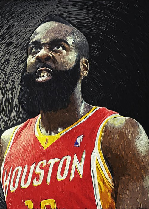James Harden Greeting Card featuring the digital art James Harden by Zapista OU