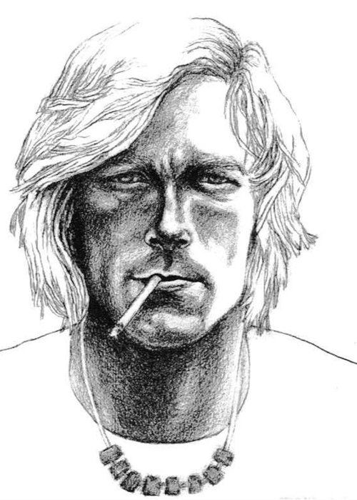 Car Racing Champion Greeting Card featuring the drawing James Hunt by Diane Fine