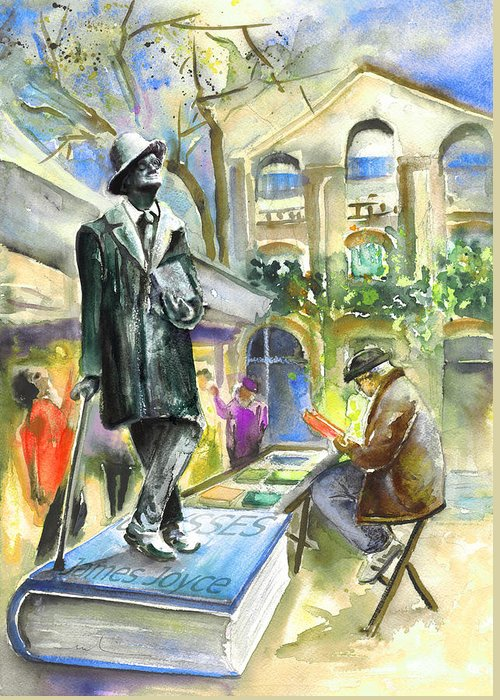 Travel Greeting Card featuring the painting James Joyce by Miki De Goodaboom