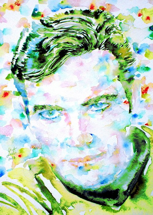 Kirk Greeting Card featuring the painting James T. Kirk - Watercolor Portrait by Fabrizio Cassetta