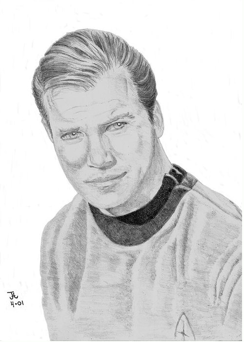 Captain Greeting Card featuring the drawing James Tiberius Kirk by Thomas J Herring