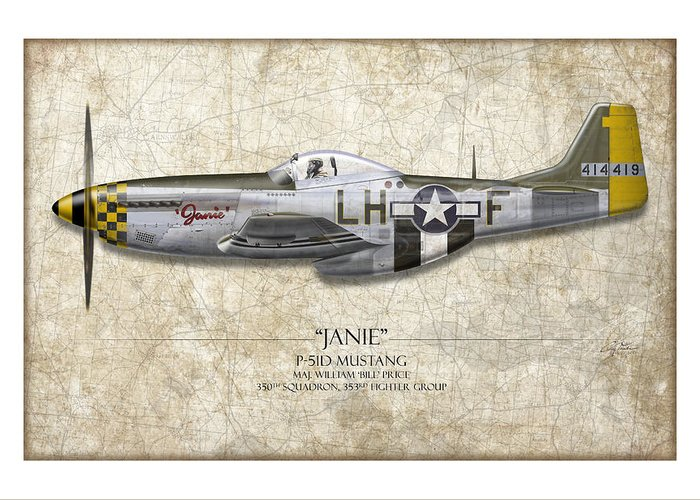 Aviation Greeting Card featuring the painting Janie P-51d Mustang - Map Background by Craig Tinder