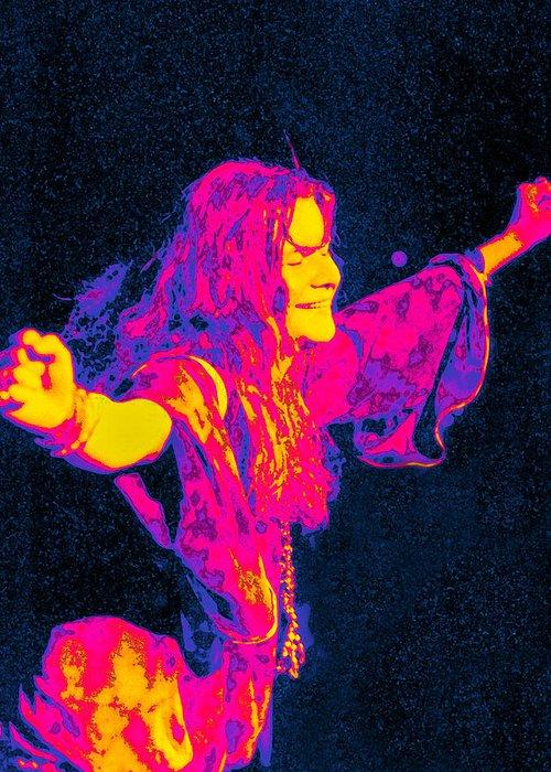 Musician Greeting Card featuring the digital art Janis Joplin Psychedelic Fresno 2 by Joann Vitali
