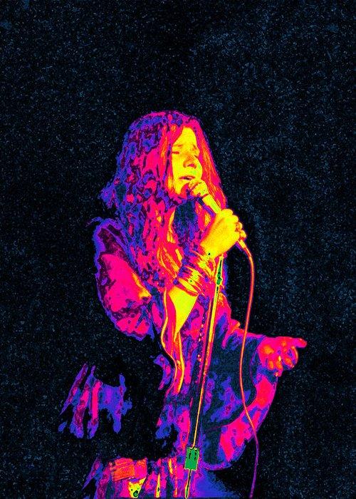 Musician Greeting Card featuring the digital art Janis Joplin Psychedelic Fresno by Joann Vitali