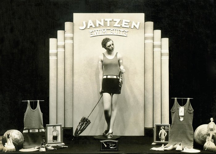 1920s Greeting Card featuring the photograph Jantzen Swim Suit Display by Underwood Archives