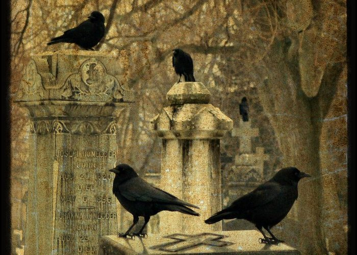 Birds In Graveyard Greeting Cards