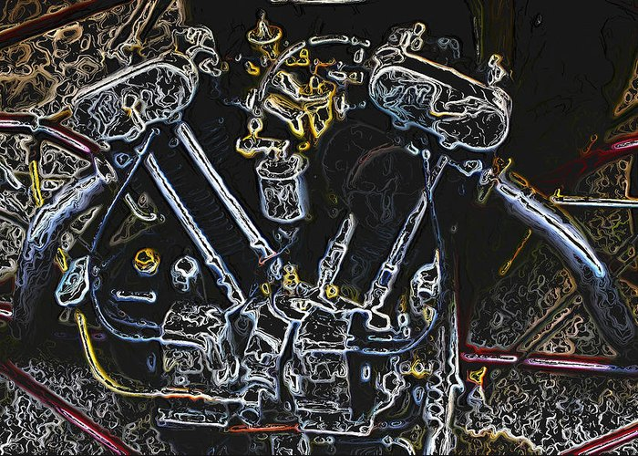 Jap Greeting Card featuring the digital art Jap Motorcycle Engine Digital Art by John Colley