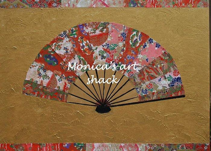 Japaneese Fan Painting By Monica Art Shack