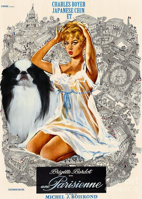 Japanese Chin Greeting Card featuring the painting Japanese Chin Art - Una Parisienne Movie Poster by Sandra Sij