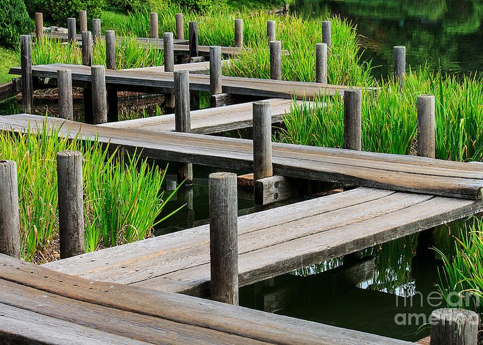 Abstract Greeting Card featuring the photograph Japanese Garden Pier And Iris by Dan Richter