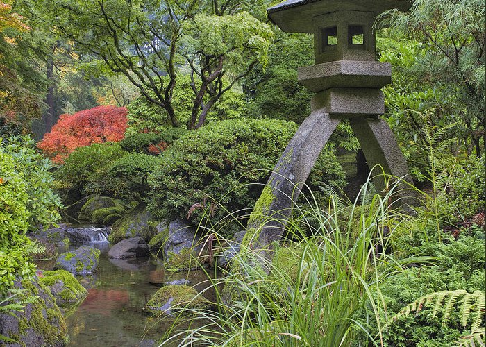 Japanese Greeting Card featuring the photograph Japanese Stone Lantern By Water Stream by David Gn