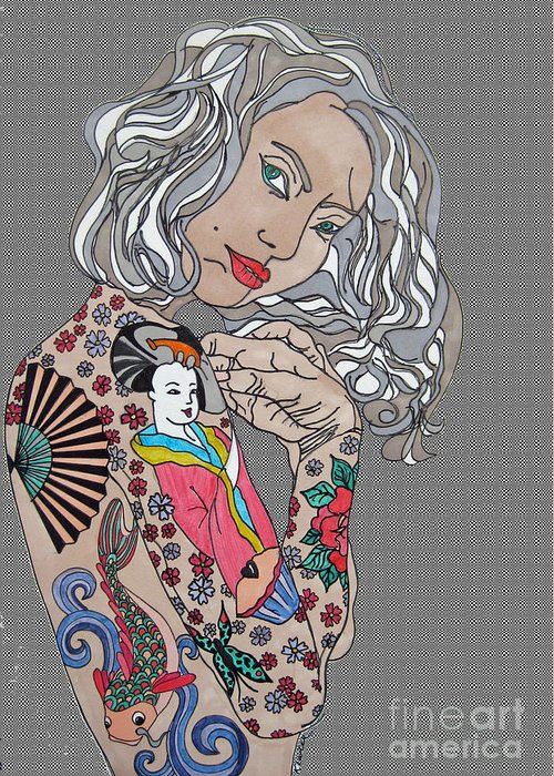 Chica Greeting Card featuring the drawing Japanese Tat Girl Grey by Karen Larter
