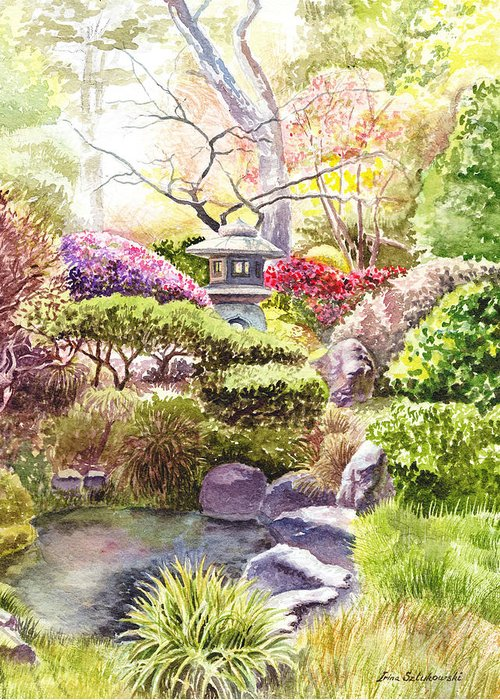 San francisco golden gate park japanese tea garden greeting card for landscape greeting card featuring the painting san francisco golden gate park japanese tea garden by irina m4hsunfo