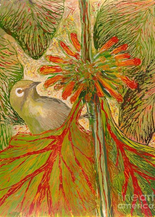 Hawaii Birds Greeting Card featuring the painting Japanese White Eye by Anna Skaradzinska