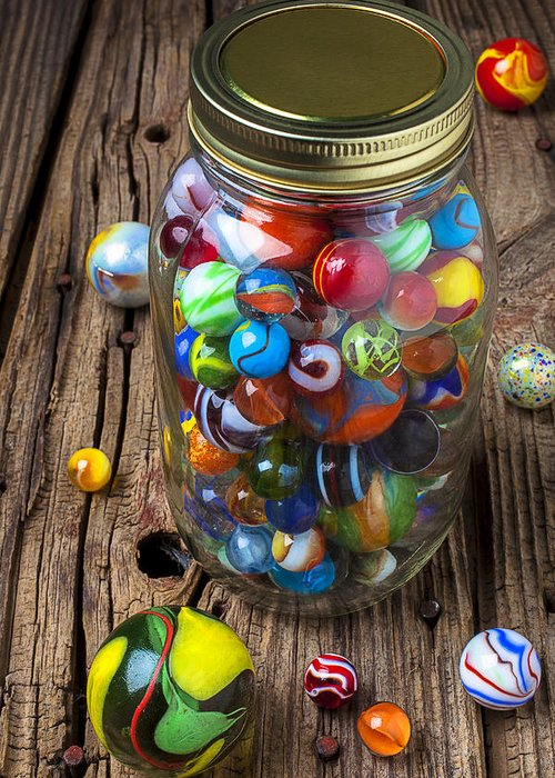 Jar Greeting Card featuring the photograph Jar Of Marbles With Shooter by Garry Gay
