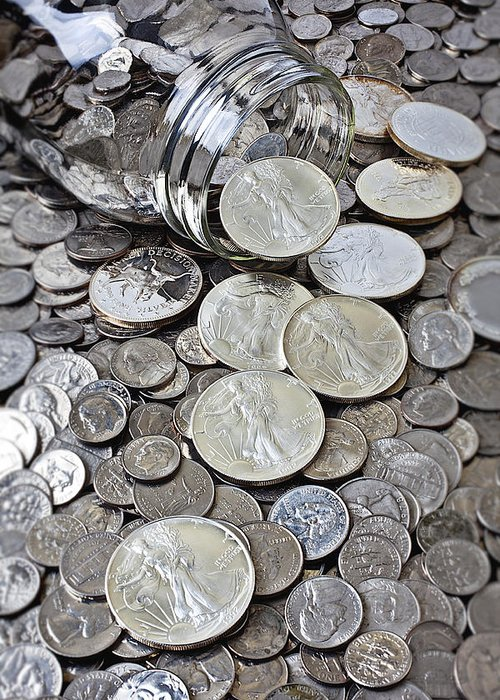 Silver Coins Greeting Cards