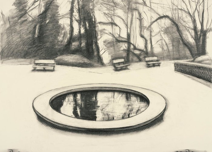 Drawing Greeting Card featuring the drawing Jardin Des Musee De Montmartre by Raimonda Jatkeviciute-Kasparaviciene