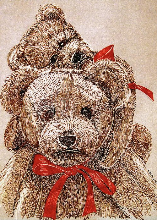 Christmas Bears Greeting Card featuring the drawing Jared's Bears by Linda Simon