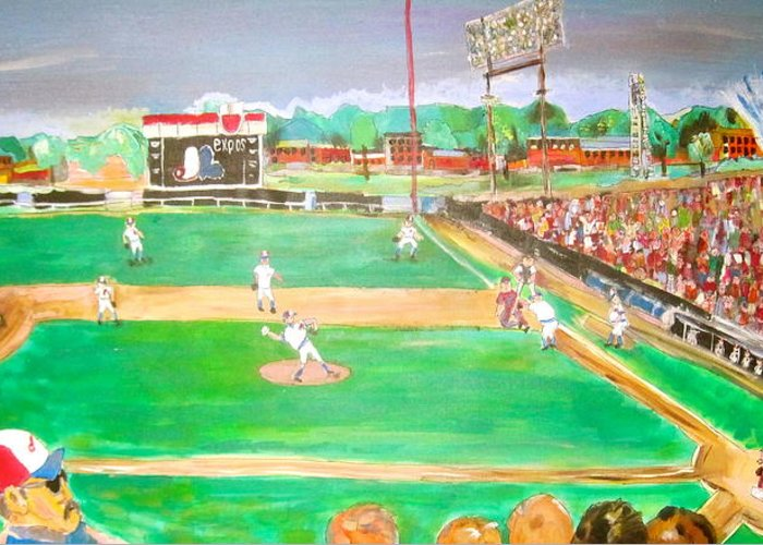 Jarry Park Greeting Card featuring the painting Jarry Park 2 by Michael Litvack