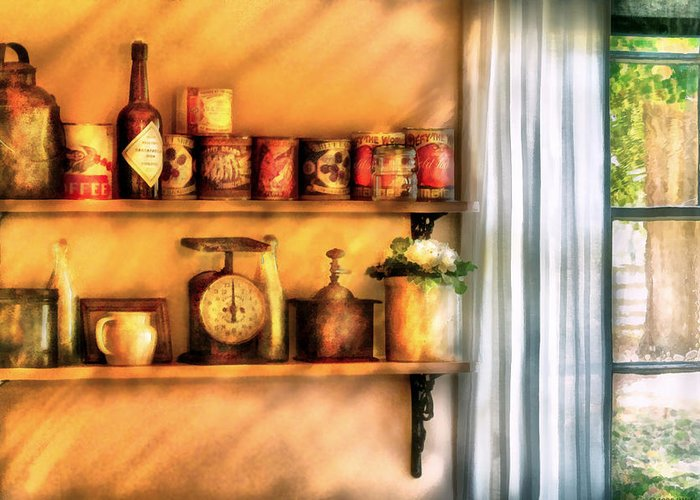 Savad Greeting Card featuring the digital art Jars - Kitchen Shelves by Mike Savad