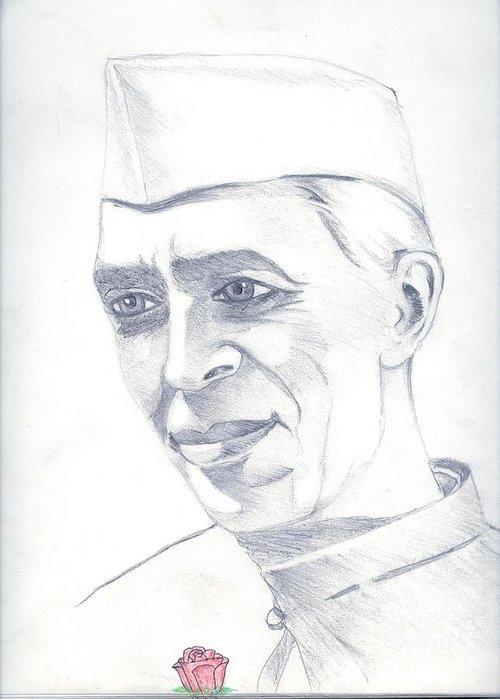 Jawaharl Lal Nehru Photos Greeting Card featuring the painting Jawaharlal Nehru by Tanmay Singh