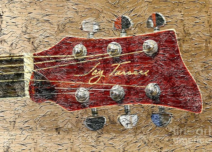Jay Turser Guitar Head Greeting Card featuring the photograph Jay Turser Guitar Head - Red Guitar - Digital Painting by Barbara Griffin