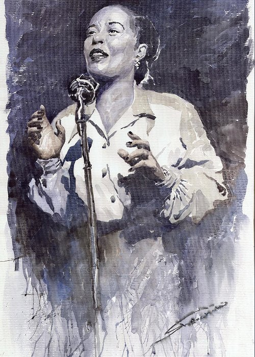 Billie Holiday Greeting Card featuring the painting Jazz Billie Holiday Lady Sings The Blues by Yuriy Shevchuk