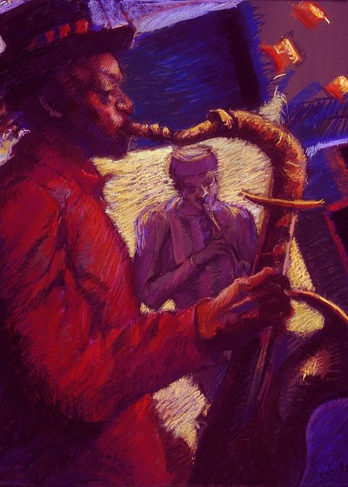 Music Greeting Card featuring the painting Jazz Duet by Ellen Dreibelbis