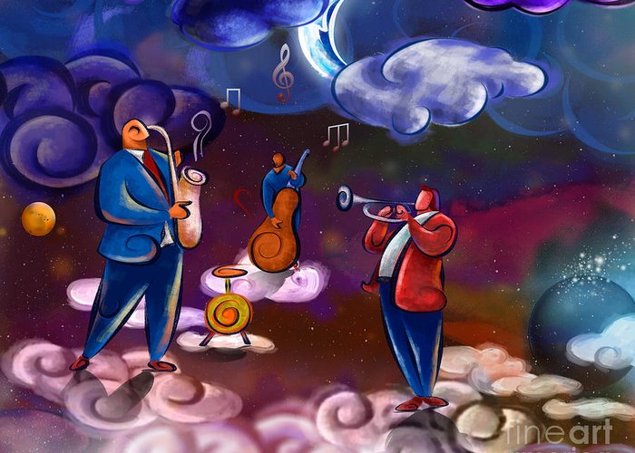 Music Greeting Card featuring the digital art Jazz In Heaven by Bedros Awak
