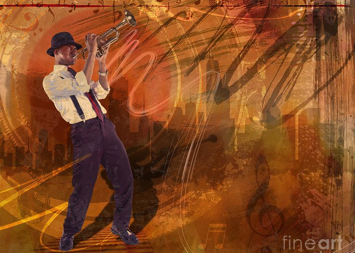 Jazz Greeting Card featuring the digital art Jazz Nrg by Bedros Awak
