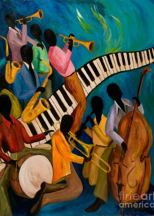 Jam Session Greeting Card featuring the painting Jazz On Fire by Larry Martin