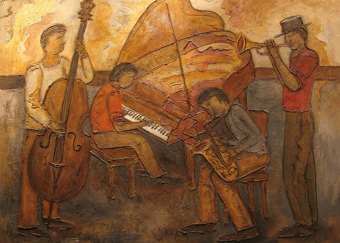Impressionist Greeting Card featuring the painting Jazz Quartet by Anita Burgermeister