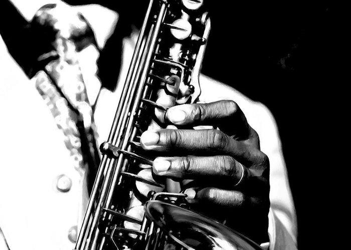 Jazz Greeting Card featuring the digital art Jazz Saxophonist by Gabriel T Toro