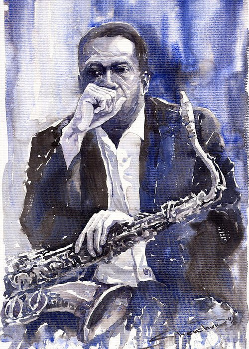 Jazz Greeting Card featuring the painting Jazz Saxophonist John Coltrane Blue by Yuriy Shevchuk