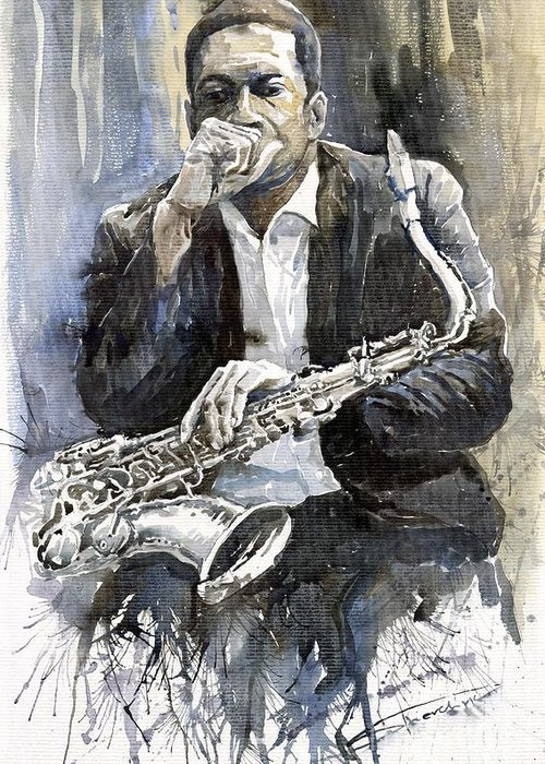 Jazz Greeting Card featuring the painting Jazz Saxophonist John Coltrane Yellow by Yuriy Shevchuk
