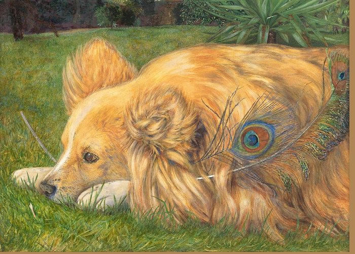 Dog Greeting Card featuring the painting Jealous Jessie by Emily Hunt and William Holman Hunt
