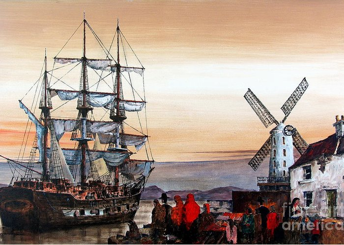 Val Byrne Greeting Card featuring the painting Jeanie Johnston Famine Ship by Val Byrne
