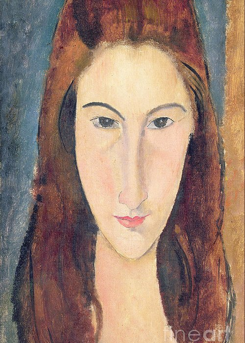 Modigliani Greeting Card featuring the painting Jeanne Hebuterne by Amedeo Modigliani