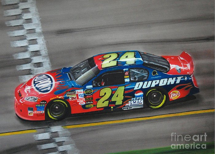 Win Greeting Card featuring the drawing Jeff Gordon Dupont Chevrolet by Paul Kuras