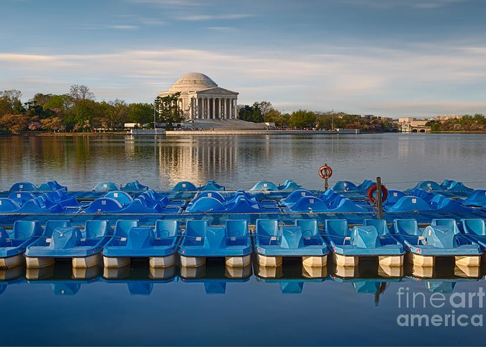 Paddle Boats Greeting Card featuring the photograph Jefferson Memorial And Paddle Boats by Jerry Fornarotto