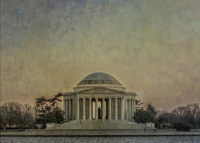 Jefferson Greeting Card featuring the photograph Jefferson Memorial At Dusk by Terry Rowe
