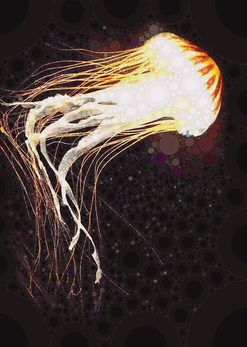 Jelly Greeting Card featuring the digital art Jelly Fish 2 by Cindy Edwards