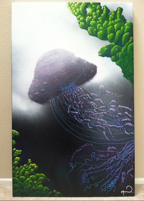 Jelly Fish Greeting Card featuring the painting Jelly In The Abyss by Michael McKee