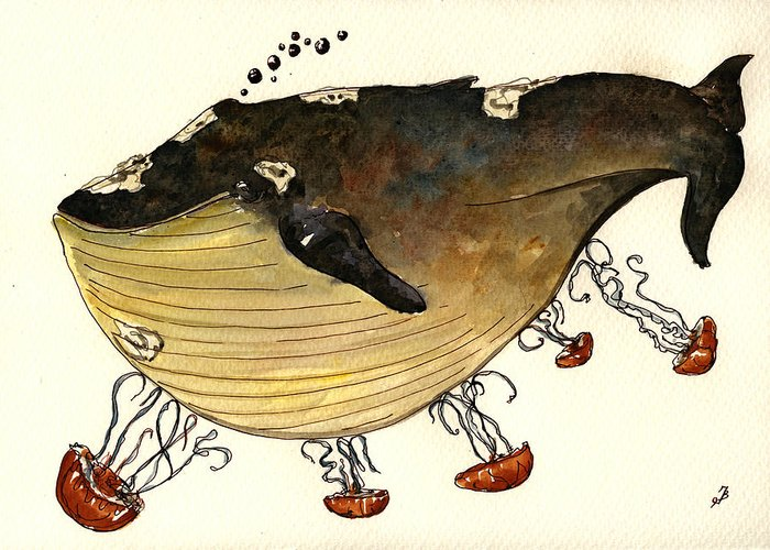 Jellyfish Greeting Card featuring the painting Jellyfish Tickling A Whale by Juan Bosco