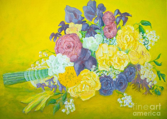 Wedding Bouquet Greeting Card featuring the painting Jen's Wedding Bouquet by Paul Galante