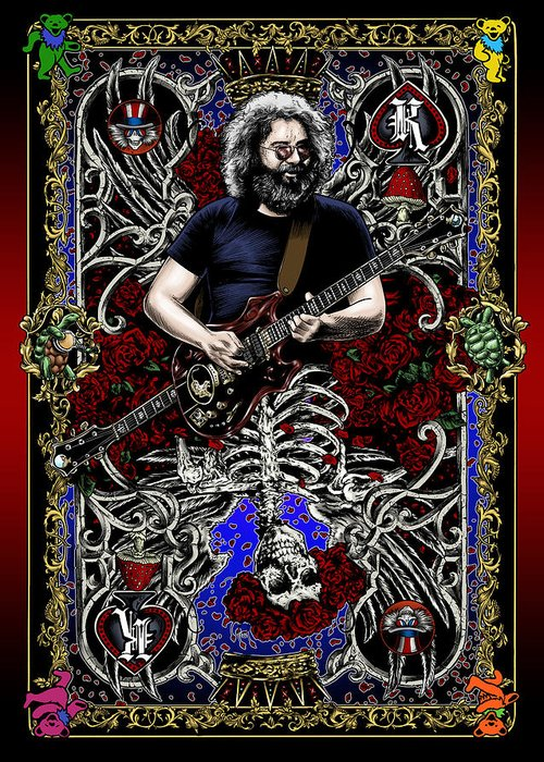 Jerry Garcia Greeting Card featuring the painting Jerry Card by Gary Kroman