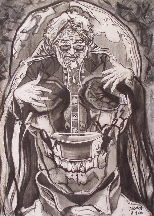 Charcoal; Skull;guitar;music;magic;mystic;wizard;cape;hat;shades;grateful Dead;deadheads Greeting Card featuring the drawing Jerry Garcia . . Magic Is What We Do - Music Is How We Do It by Sean Connolly