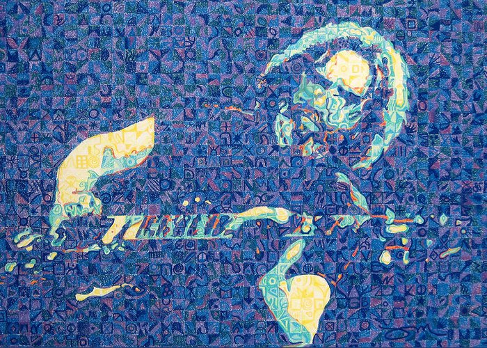 Jerry Garcia Greeting Card featuring the drawing Jerry Garcia Chuck Close Style by Joshua Morton