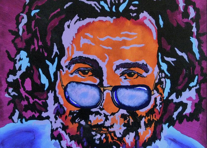 Jerry Garcia Paintings Greeting Card featuring the painting Jerry Garcia-it's A Me Thing by Bill Manson